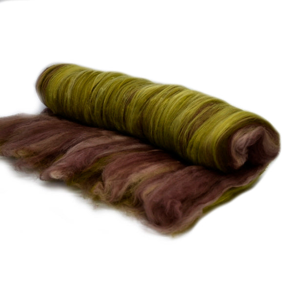 Tasmanian Merino Wool Carded Batts Hand Dyed Forest 13153| Merino Wool Batts | Sally Ridgway | Shop Wool, Felt and Fibre Online