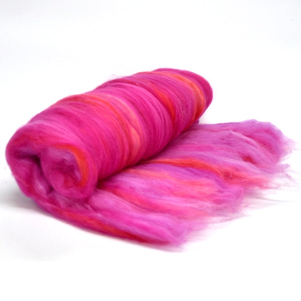 Tasmanian Merino Wool Carded Batts Hand Dyed Azalea 13155| Merino Wool Batts | Sally Ridgway | Shop Wool, Felt and Fibre Online
