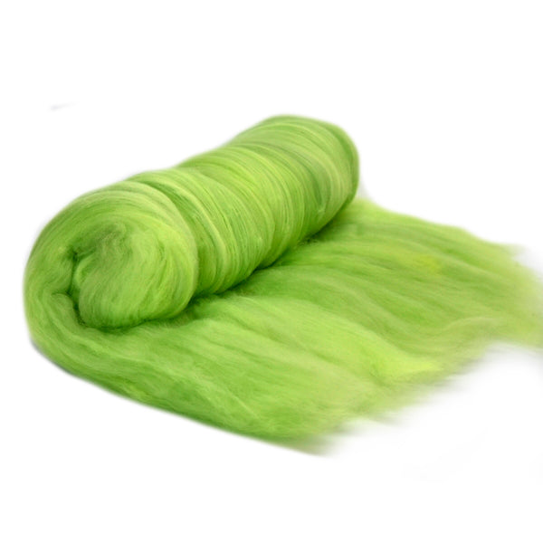 Tasmanian Merino Wool Carded Batts Hand Dyed Lime Green 13156| Merino Wool Batts | Sally Ridgway | Shop Wool, Felt and Fibre Online