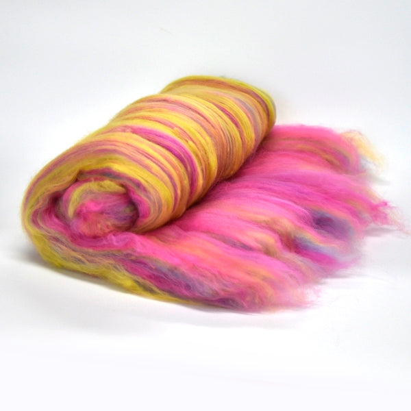 Tasmanian Merino Wool Carded Batts Hand Dyed Tuti Fruiti 13157| Merino Wool Batts | Sally Ridgway | Shop Wool, Felt and Fibre Online