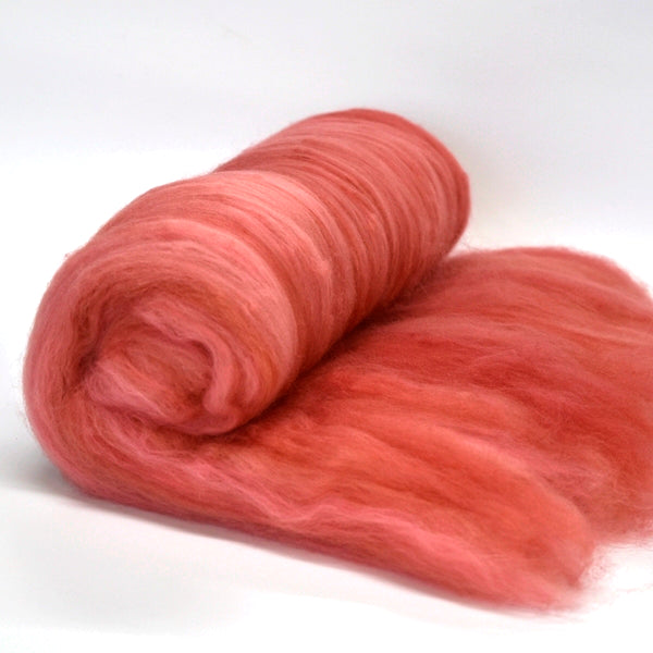 Tasmanian Merino Wool Carded Batts Hand Dyed Coral 13159| Merino Wool Batts | Sally Ridgway | Shop Wool, Felt and Fibre Online