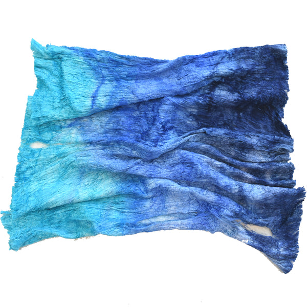 Mulberry Silk Cocoon Sheet Fabric Hand Dyed Ocean Blue 12684| Silk Cocoon Sheets | Sally Ridgway | Shop Wool, Felt and Fibre Online
