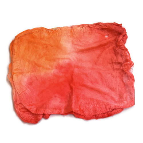 Mulberry Silk Hankies Mawata Squares Hand Dyed 10g Citrus Orange Mix 12279| Silk Hankies | Sally Ridgway | Shop Wool, Felt and Fibre Online