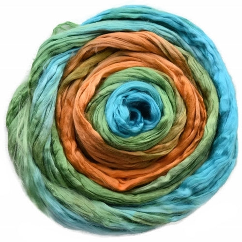 Mulberry Silk Roving Blue Green Orange 20 Grams 12319| Silk Roving/Sliver | Sally Ridgway | Shop Wool, Felt and Fibre Online