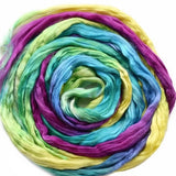 Mulberry Silk Roving Rainbow Mix 20 Grams 12316| Silk Roving/Sliver | Sally Ridgway | Shop Wool, Felt and Fibre Online