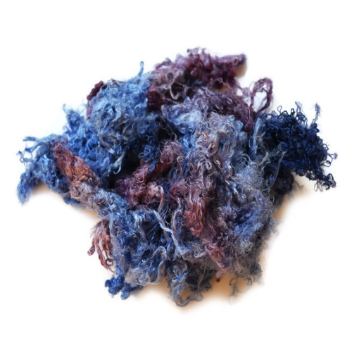 Mulberry Silk Throwster Fibre Recycled Fibre Hand Dyed Blue Purple Mix 20 grams 12348| Silk Throwster | Sally Ridgway | Shop Wool, Felt and Fibre Online