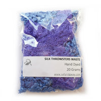 Mulberry Silk Throwster Waste Fibre Blue Purple 20 grams 12631| Silk Throwster | Sally Ridgway | Shop Wool, Felt and Fibre Online