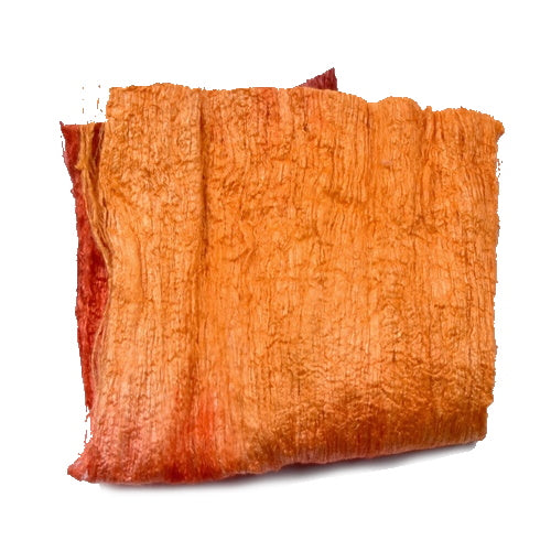 Mulberry Silk Cocoon Sheet Fabric Hand Dyed Citrus Orange 12790| Silk Cocoon Sheets | Sally Ridgway | Shop Wool, Felt and Fibre Online