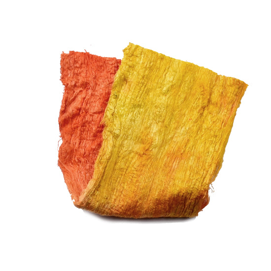 Mulberry Silk Cocoon Sheet Fabric Hand Dyed Yellow Orange 12792| Silk Cocoon Sheets | Sally Ridgway | Shop Wool, Felt and Fibre Online