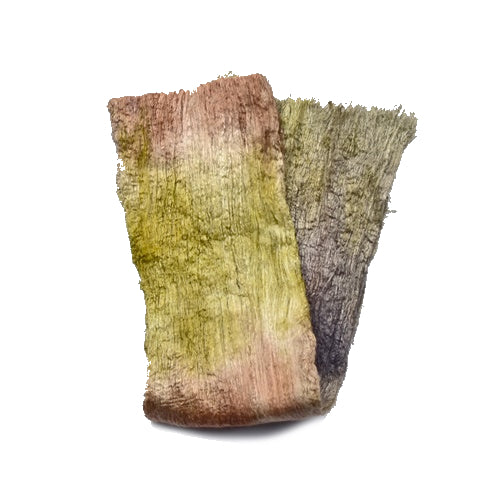 Mulberry Silk Cocoon Sheet Fabric Hand Dyed Forrest 12794| Silk Cocoon Sheets | Sally Ridgway | Shop Wool, Felt and Fibre Online