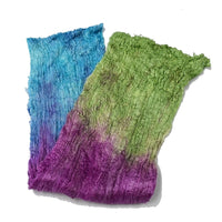 Mulberry Silk Cocoon Sheet Fabric Hand Dyed Deep Rainbow 12844| Silk Cocoon Sheets | Sally Ridgway | Shop Wool, Felt and Fibre Online