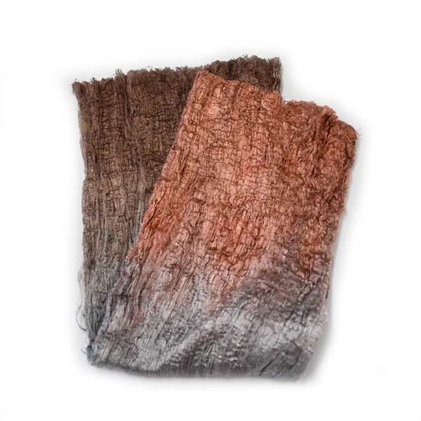Mulberry Silk Cocoon Sheet Fabric Hand Dyed Brown Grey Mix 12394| Silk Cocoon Sheets | Sally Ridgway | Shop Wool, Felt and Fibre Online