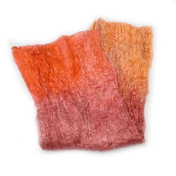 Mulberry Silk Cocoon Sheet Fabric Hand Dyed Orange 12842| Silk Cocoon Sheets | Sally Ridgway | Shop Wool, Felt and Fibre Online
