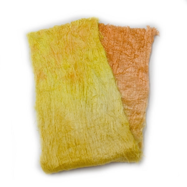 Mulberry Silk Cocoon Sheet Fabric Hand Dyed Citrus Mix 12838| Silk Cocoon Sheets | Sally Ridgway | Shop Wool, Felt and Fibre Online