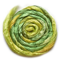 Mulberry Silk Roving Hand Dyed in Daffodil 20 Grams 12812| Silk Roving/Sliver | Sally Ridgway | Shop Wool, Felt and Fibre Online