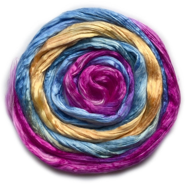 Mulberry Silk Roving Hand Dyed in Tropical 20 Grams 12813| Silk Roving/Sliver | Sally Ridgway | Shop Wool, Felt and Fibre Online