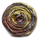 Mulberry Silk Roving Hand Dyed in Mossy Brown 20 Grams 12817| Silk Roving/Sliver | Sally Ridgway | Shop Wool, Felt and Fibre Online