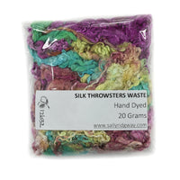 Mulberry Silk Throwster Waste 20 grams Hand Dyed Opal Crimson Lime 12632| Silk Throwster | Sally Ridgway | Shop Wool, Felt and Fibre Online