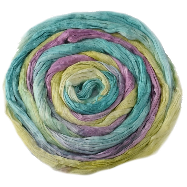 Mulberry Silk Roving Hand Dyed in Summer Garden 12968| Silk Roving/Sliver | Sally Ridgway | Shop Wool, Felt and Fibre Online