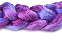 Mulberry Silk Roving Hand Dyed in Wild Berries 13094| Silk Roving/Sliver | Sally Ridgway | Shop Wool, Felt and Fibre Online