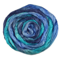 Silk Roving for Spinning and Felting Blue Mix 13095| Silk Roving/Sliver | Sally Ridgway | Shop Wool, Felt and Fibre Online
