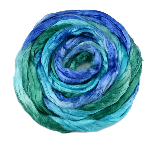 Mulberry Silk Roving Hand Dyed in Blue Opal 12818| Silk Roving/Sliver | Sally Ridgway | Shop Wool, Felt and Fibre Online