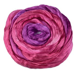 Mulberry Silk Roving Hand Dyed in Hot Pink Purple 12320| Silk Roving/Sliver | Sally Ridgway | Shop Wool, Felt and Fibre Online
