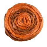 Mulberry Silk Roving Hand Dyed in Pumpkin 13102| Silk Roving/Sliver | Sally Ridgway | Shop Wool, Felt and Fibre Online