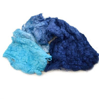 Mulberry Silk Noil Fibre Hand Dyed in Ocean Blue 13240| Silk Noil | Sally Ridgway | Shop Wool, Felt and Fibre Online