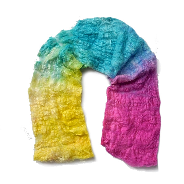 Mulberry Silk Noil Fibre Hand Dyed in Rainbow 13038| Silk Noil | Sally Ridgway | Shop Wool, Felt and Fibre Online