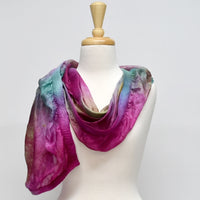Nuno Felted Wool and Silk Art Scarf in English Garden 12781| Wool Felt Scarves | Sally Ridgway | Shop Wool, Felt and Fibre Online
