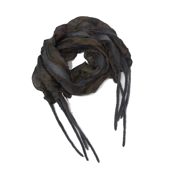 Black and Brown Nuno Felted Merino Wool and Silk Art Scarf 13033| Wool Felt Scarves | Sally Ridgway | Shop Wool, Felt and Fibre Online