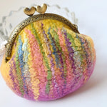 Pink and Yellow Wool Felted Purse or Back Pack Purse 12360| Coin Purse | Sally Ridgway | Shop Wool, Felt and Fibre Online