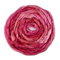 Mulberry Silk Roving Hand Dyed in Pink Apricots 13090| Silk Roving/Sliver | Sally Ridgway | Shop Wool, Felt and Fibre Online