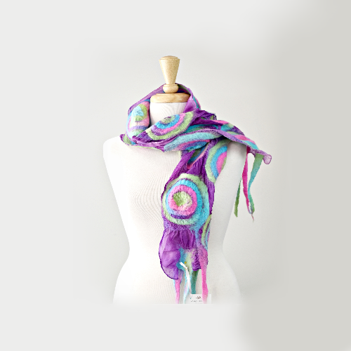 Pretty Nuno Felt Silk Scarf Rainbow Mix 11846| Wool Felt Scarves | Sally Ridgway | Shop Wool, Felt and Fibre Online
