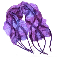 Purple Nuno Felted Merino Wool and Silk Art Scarf 13031| Wool Felt Scarves | Sally Ridgway | Shop Wool, Felt and Fibre Online