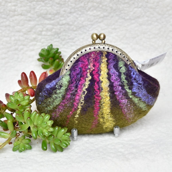 Purple Hand Made Wool Felted Coin Purse 13148| Coin Purse | Sally Ridgway | Shop Wool, Felt and Fibre Online