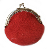 Red Wool Felted Coin Purse or Jewellery Pouch 12364| Coin Purse | Sally Ridgway | Shop Wool, Felt and Fibre Online