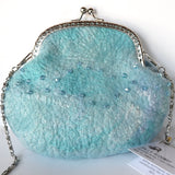 SALE Clutch Evening Bag in Aqua Wool Felt Hand Bag Felted Purse Aqua 11735| Wool Felt Bags | Sally Ridgway | Shop Wool, Felt and Fibre Online