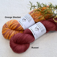 4 ply Supreme Sock Yarn Hand Dyed Orange Sherbet 13284| Sock Yarn | Sally Ridgway | Shop Wool, Felt and Fibre Online
