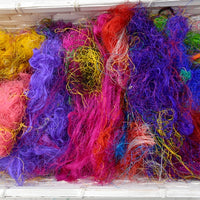 Multi Colour Sari Silk Recycled Fibre 50 grams Colour B| Sari Silk | Sally Ridgway | Shop Wool, Felt and Fibre Online