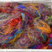 Multi Colour Sari Silk Recycled Fibre 50 grams Colour A| Sari Silk | Sally Ridgway | Shop Wool, Felt and Fibre Online