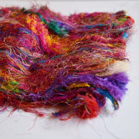 Sari Silk Recycled Fibre Multi Colour 20 grams| Sari Silk | Sally Ridgway | Shop Wool, Felt and Fibre Online