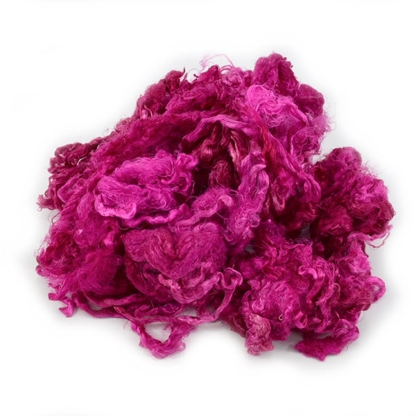 Mulberry Silk Throwsters Fibre Raspberry Pink 12866| Silk Throwster | Sally Ridgway | Shop Wool, Felt and Fibre Online