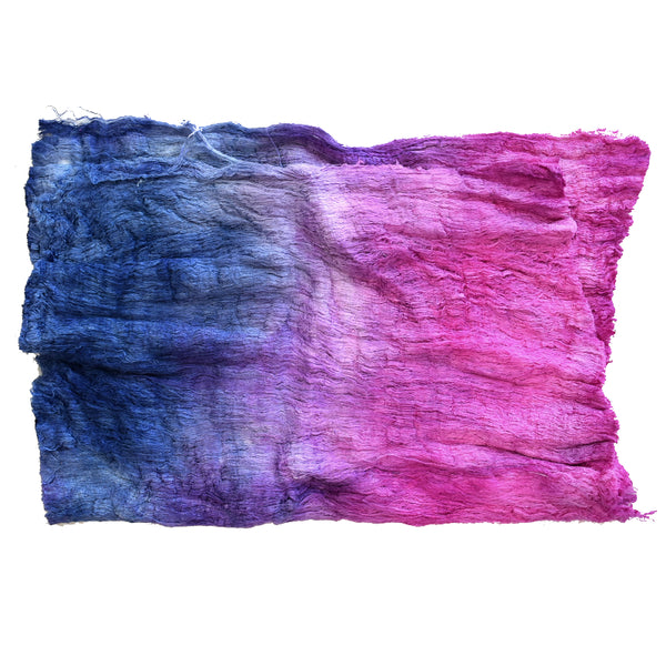 Silk Cocoon Sheet Fabric Hand Dyed in a Pink and Blue Mix 12605| Silk Cocoon Sheets | Sally Ridgway | Shop Wool, Felt and Fibre Online