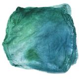 Silk Hankies Mawata Squares Hand Dyed 10g Blue Green Mix 12200| Silk Hankies | Sally Ridgway | Shop Wool, Felt and Fibre Online
