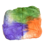 Silk Hankies Mawata Squares for Felting Spinning in Orange Purple Green 12282| Silk Hankies | Sally Ridgway | Shop Wool, Felt and Fibre Online