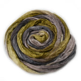 Silk Roving Hand Dyed Charcoal Moss Green Brown 20 Grams 12597| Silk Roving/Sliver | Sally Ridgway | Shop Wool, Felt and Fibre Online