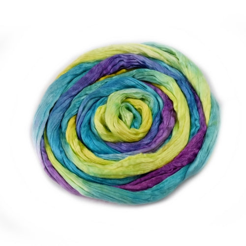 Silk Roving for Spinning and Felting Rainbow 20 grams 12594| Silk Roving/Sliver | Sally Ridgway | Shop Wool, Felt and Fibre Online