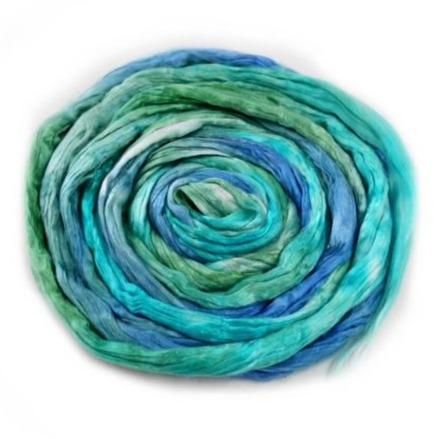 Silk Roving for Spinning and Felting Teal Green 20 grams 12593| Silk Roving/Sliver | Sally Ridgway | Shop Wool, Felt and Fibre Online